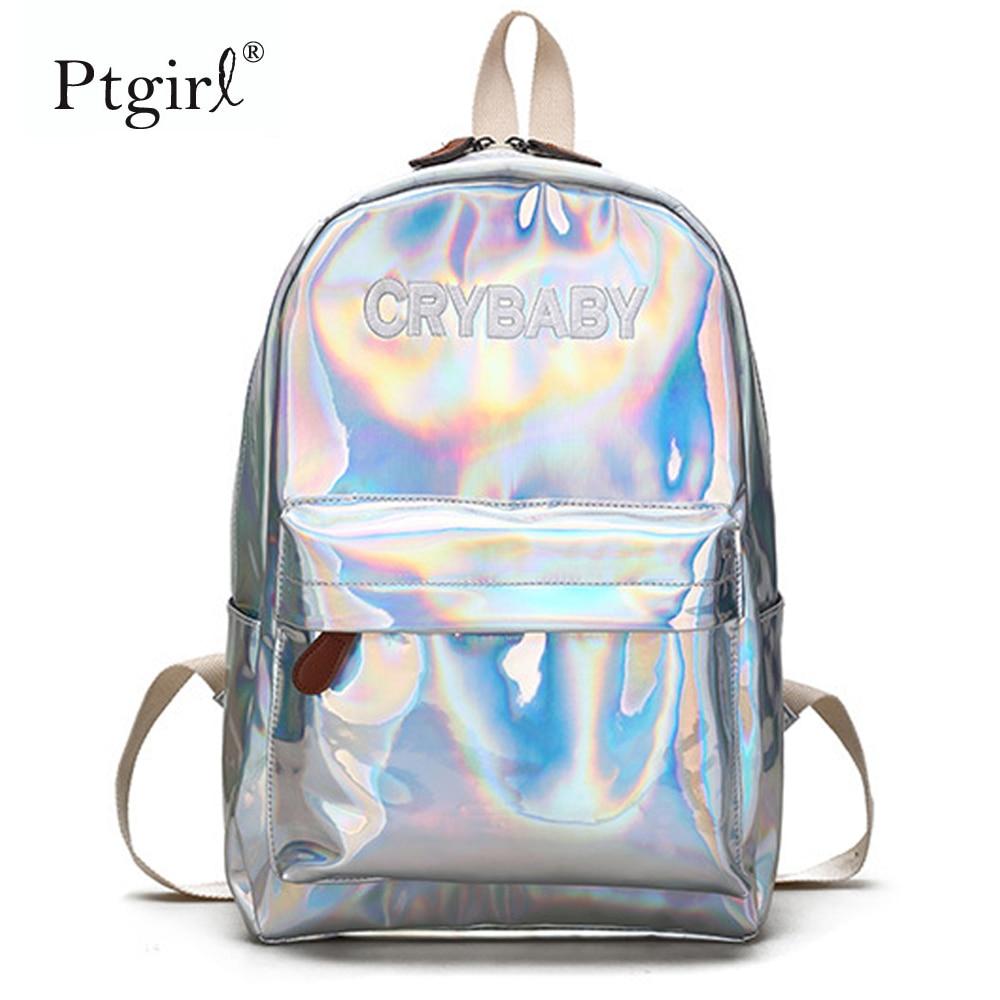 2019 moda Hip-hop estilo bordado letra Crybaby mochila láser holograma mujeres suave PU cuero mochila escolar para niñas