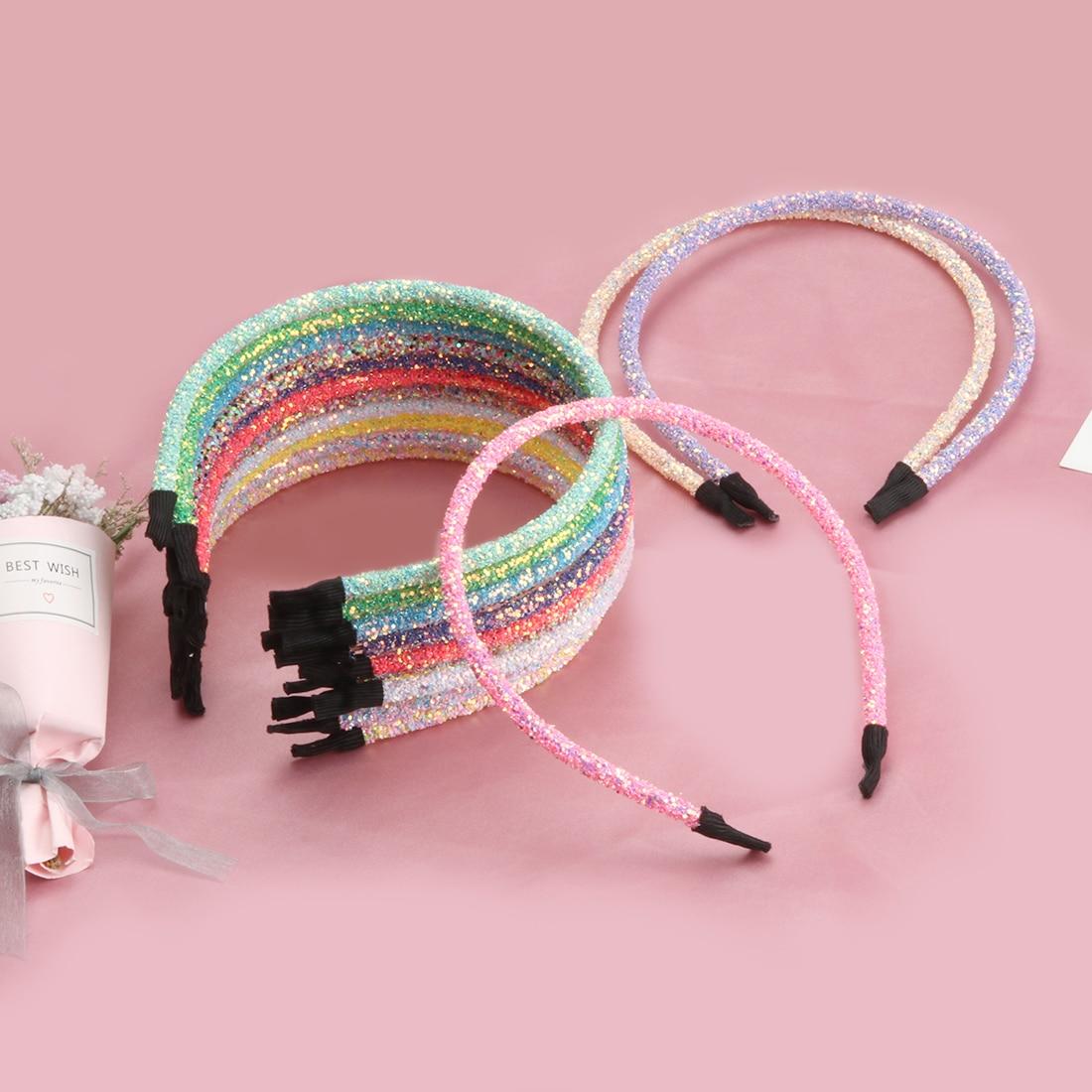 Diadema con brillo para niñas de 14 unids/lote, diademas de moda para fiestas infantiles con lentejuelas ostentosas, accesorios para el cabello para niños