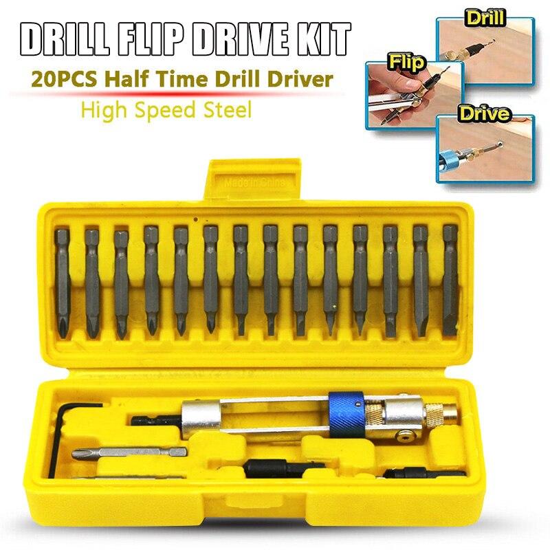 Kit de Drill Flip Drive 20 piezas Juego de brocas multifunción operación rápida fácil HUG-Deals