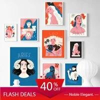 Toile de peinture  Illustration de mode abstraite de fille  affiches et imprimes artistiques nordiques  images murales pour decoration de maison