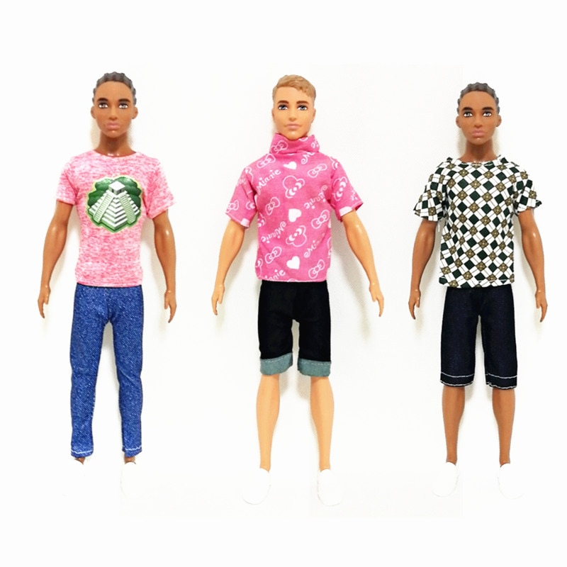Handmade  BJD Doll Outfits Set for Barbie  BJD Doll Ken Clothes Accessories Play House Dressing Up  Kids Toys 5 sets fashion casual wear doll clothes tops t shirt jacket pants outfits accessories for barbie boy friend ken dolls cloth toys