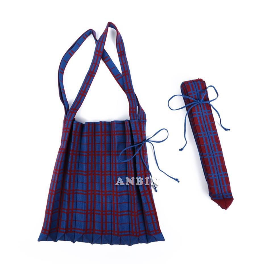 Women Knitting Wool Bag Contrast Color Checked Shoulder Bag Simple College Students Cloth Handbag To