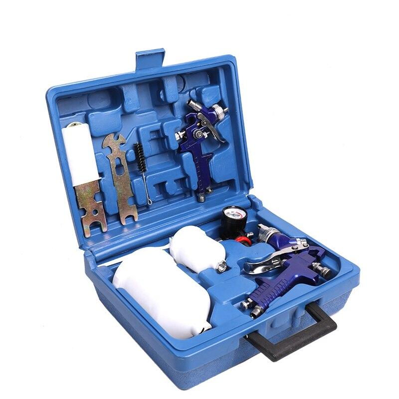 Kit de pulverización de aire de 1,0/1,4mm, Base de pintura de 30-80 Psi, Kit de limpieza de cepillo de gravedad, ajuste de filtros para tazas y perillas para manómetro de coche