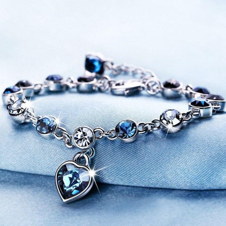 Versión coreana de la nueva moda austriaco cristal Corazón de océano pulsera de las señoras