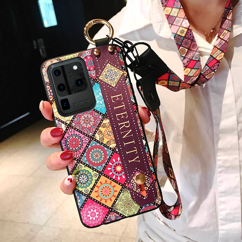 Wrist Neck Strap Phone Case For Samsung Galaxy S10 Note 8 9 10 20 Ultra S9 S8 Plus S20 FE 5G A30s A5
