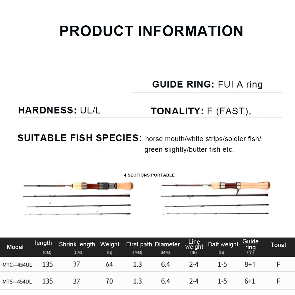 Sale Portable Fishing Rod Trout Rod 4 Sections Lightweight Travel Rod High Carbon Spinning/Casting Rod Fishing Accessories enlarge