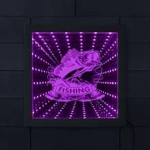 Fishing Club nieskończoność rama lustra Fishing Bass 3D podświetlana dioda LED lustra ryby z prętem rybak tunel Vision lustrzane światło