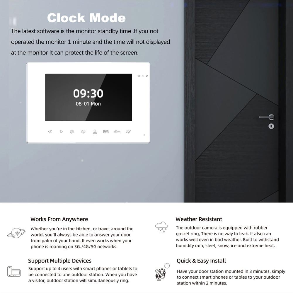 Smart Tuya Home Video Door Phone Intercom Wifi 7 inch  Video doorbell  IR Night Vision Support Password Unlock for Home Security enlarge