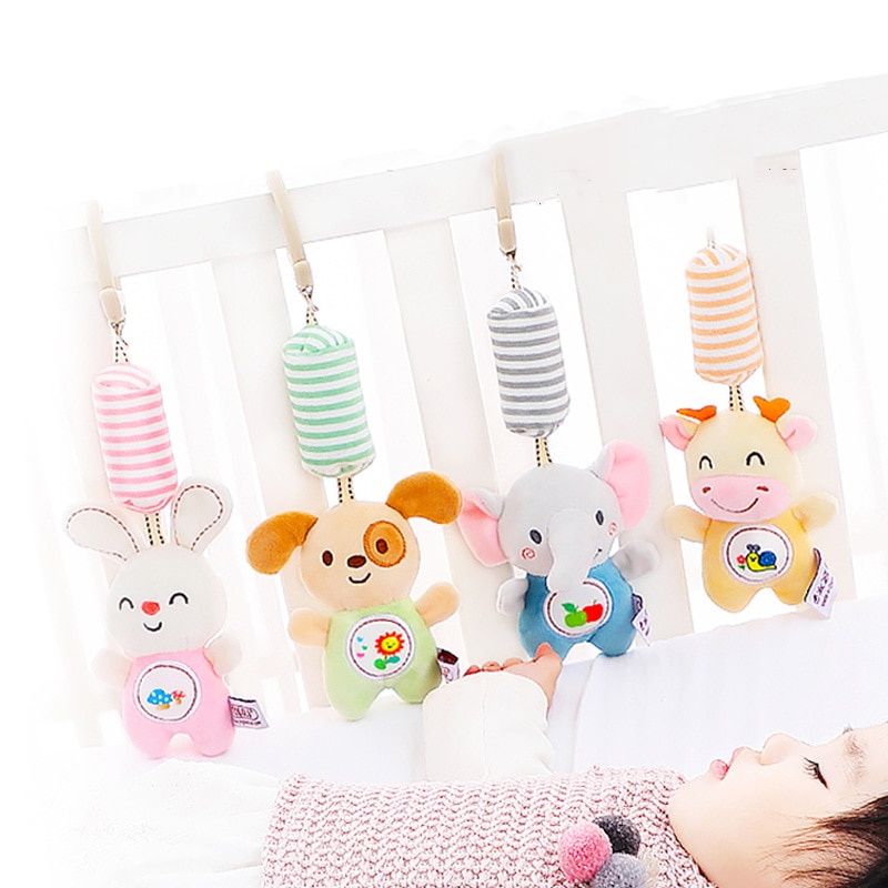 Мобильные погремушки Монтессори, подарок для детей, мобильные, подвесная кровать для новорожденных, мягкие музыкальные игрушки с животными