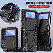 For Samsung Z Flip 3 Case for Samsung Galaxy Z Flip 3 Case Magnetic Car Holder Kickstand Shockproof