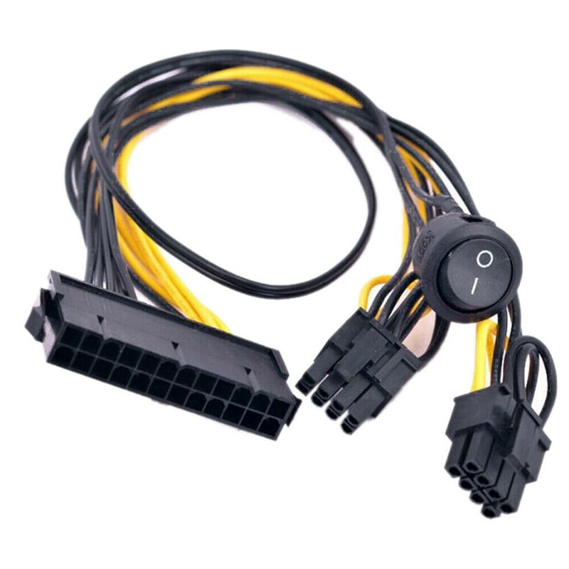 ATX Power 24Pin to Dual 6+2 Pin 8 Pin with on Off Switch Cable PCIe 6Pin 8Pin Male to 24 Pin Female Power Supply Cable