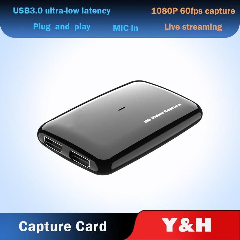 بطاقة التقاط الفيديو USB 3.0 1080P60FPS HDMI ، متوافقة مع XBOX ، PS4 ، التلفزيون ، التسجيل ، الكمبيوتر ، البث المباشر ، الميكروفون ، مخرج الحلقة