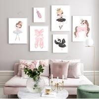 WTQ     peinture sur toile de princesse de Ballet nordique  images murales de cygne pour chambre denfant  decoration de maison