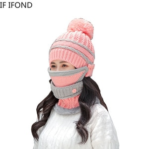 3 Pieces Set Beanie Hat Scarf and Mask Thick Warm Knit Cap For Women Winter Warm Fleece Riding Hats