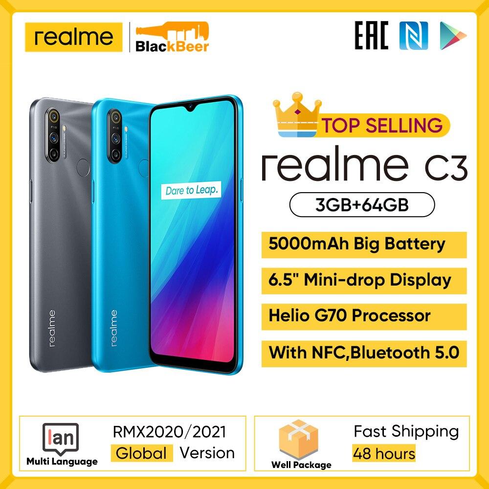 Перейти на Алиэкспресс и купить Realme C3 6,52 дюймов мобильный телефон 3 Гб 64 Гб Смартфон MTK G70 Восьмиядерный мобильный телефон 12 Мп + 2 Мп + 2 Мп камера 5000 мАч NFC 10 Вт Быстрая зарядка
