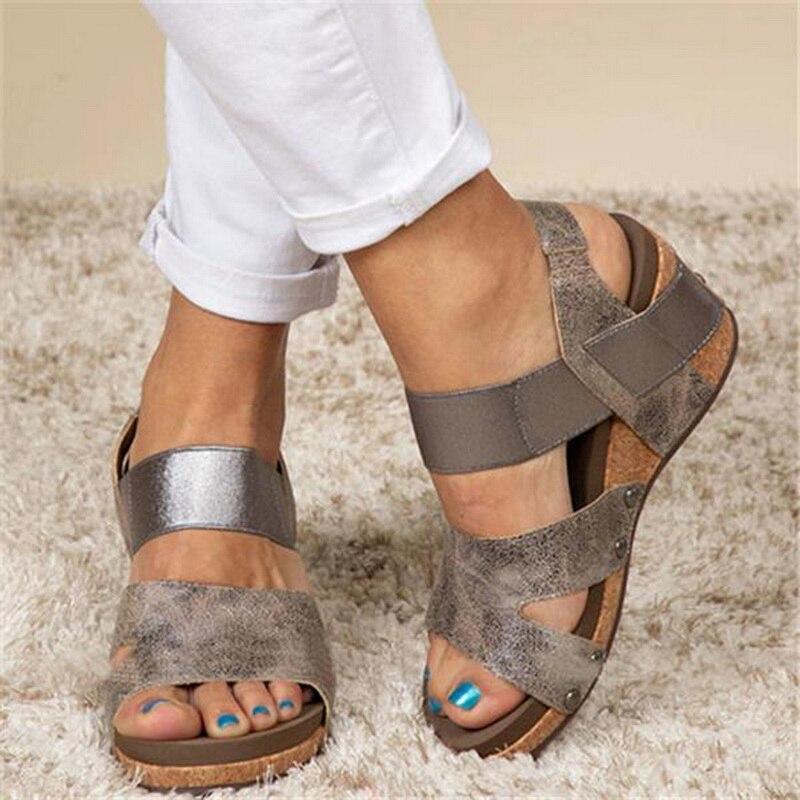 Litthing letnie damskie sandały na platformie damskie Peep Toe wysokie kliny pięty klamry na kostce Sandalia espadryle buty damskie