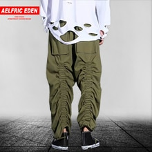Aelfric Eden Solid Ribbin Pockets Lacing Design Cargo Pants Mens 2019 Harajuku Hip Hop Streetwear Casual Joggers Harem Trousers