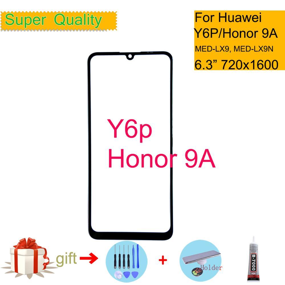 Para Huawei Y6P 2020 pantalla táctil Panel táctil cristal exterior frontal para Honor 9A LCD Lente de Cristal reemplazo Y6P MED-LX9 MED-LX9N