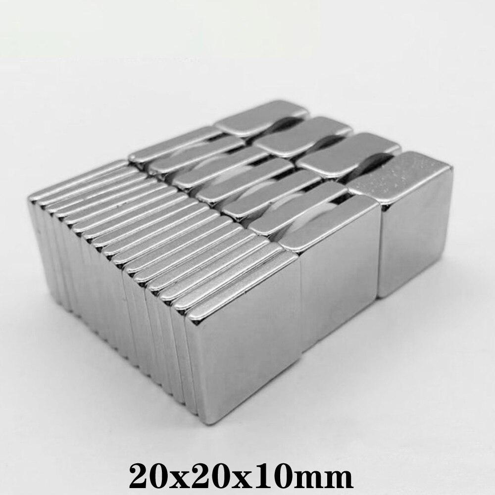 Imanes de pie de búsqueda de 20x20x10mm, imanes de neodimio potentes de 20x20x10mm, 20x20x10mm, 1/2/5/10/20/30 Uds.