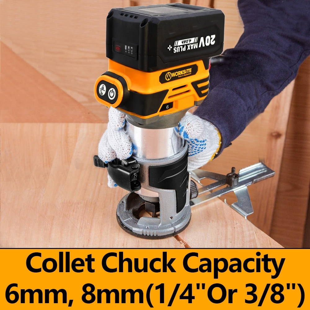 WORKSITE Cordless Palm  Router Machine Hand Wood Trimmer Battery 20V Brushless Battery Drywall Cordless Router enlarge