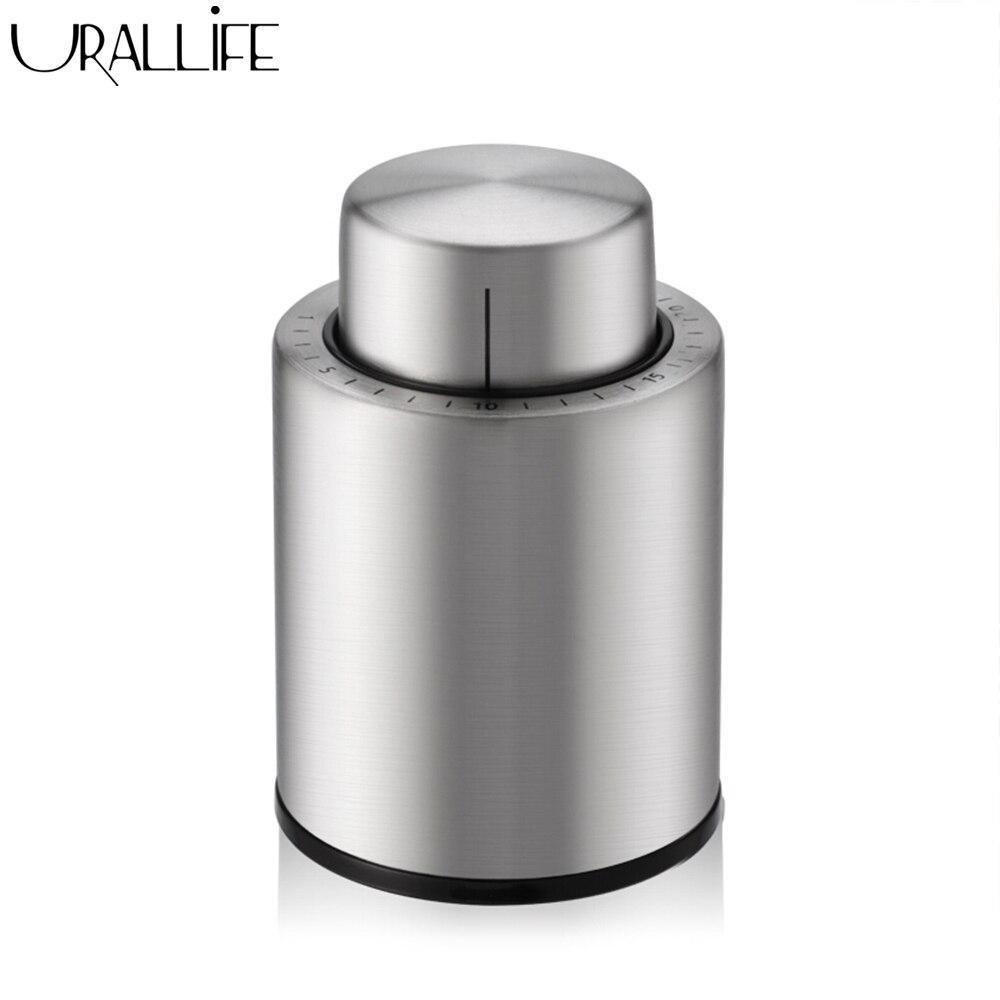 Mini tapón para botella de vino tinto al vacío de acero inoxidable de uralllife, sellador sellado al vacío con marcador de fecha, tapones para vino