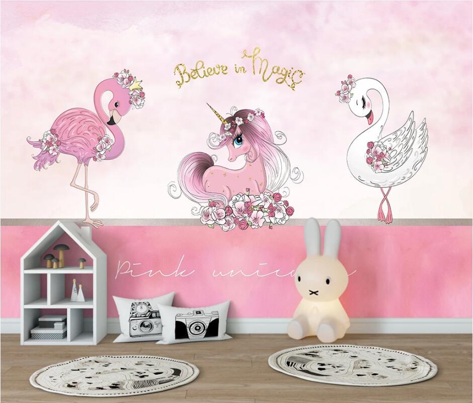 AINYOOUSEM unicornio Rosa flamenco Cisne niños fondo de sala pared papel tapiz papel de pared papel tapiz 3d pegatinas