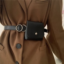 Women's Korean-Style Fashion Match with Coat Dress with Small Bag Belt Waist Trimming Versatile Non-