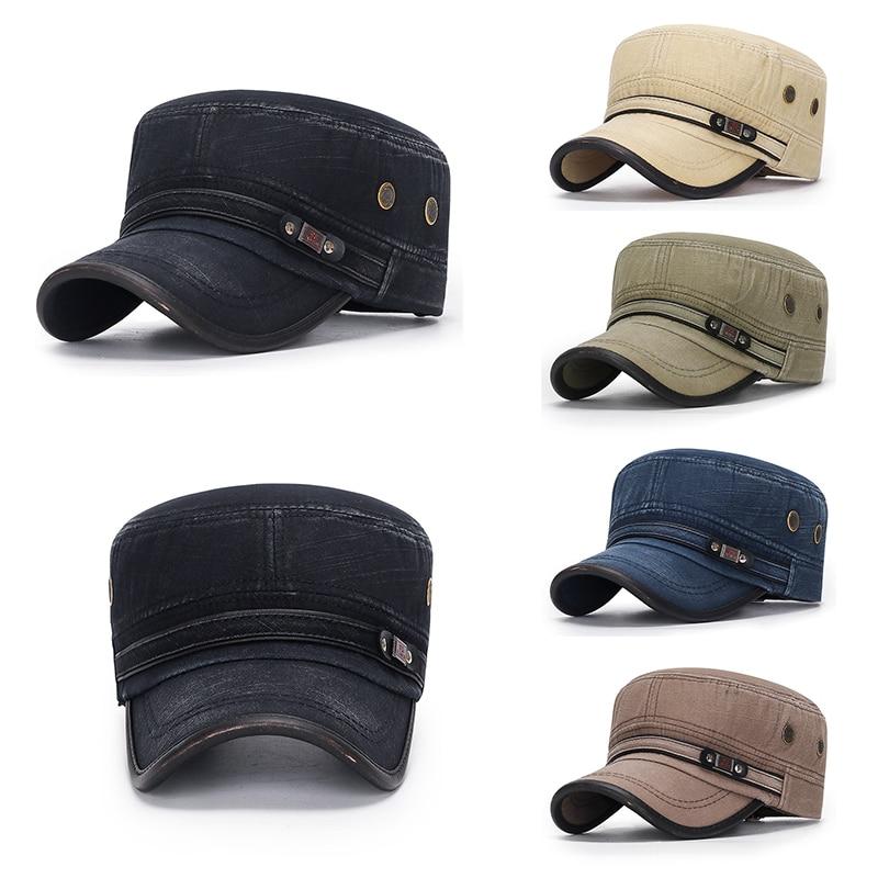 Классические винтажные вареные хлопковые кепки в стиле милитари мужские Регулируемые регулируемые зимние теплые кепки для защиты от солнц...