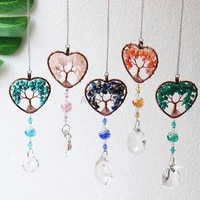 leisi diy 5 color crystal sun catcher crystal tree of life healing stone rainbow maker drop hanging windows home decoration ca