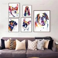 color animal dog canvas painting french bulldog labrador saint bernard poster abstract wall art canvas prints picture decorative