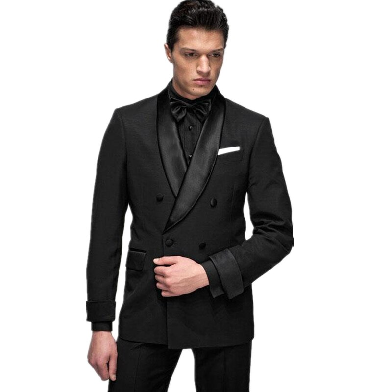 Handsome Double-Breasted Groomsmen Shawl Lapel Groom Tuxedos  Men Suits Wedding/Prom/Dinner Best Blazer(Jacket+Pants+Tie) 122