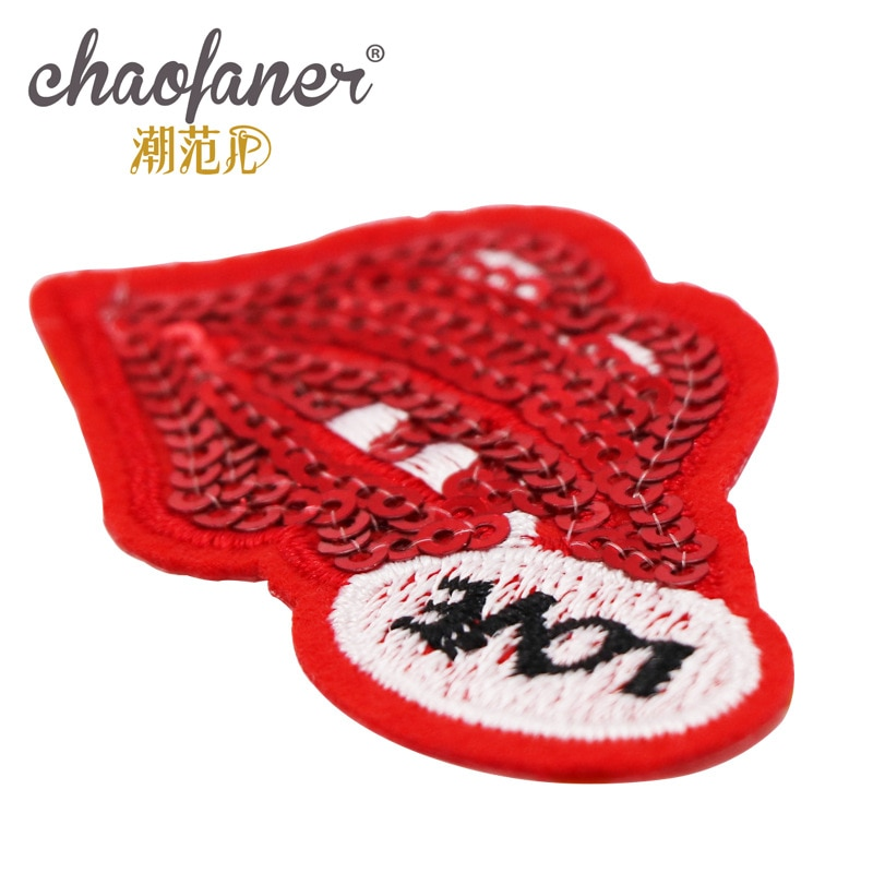 5 Embroidery Letters Clothing Decoration Accessoriesred Lips Sequins Diy Iron Heat Transfer Applique Cute Patch  - buy with discount