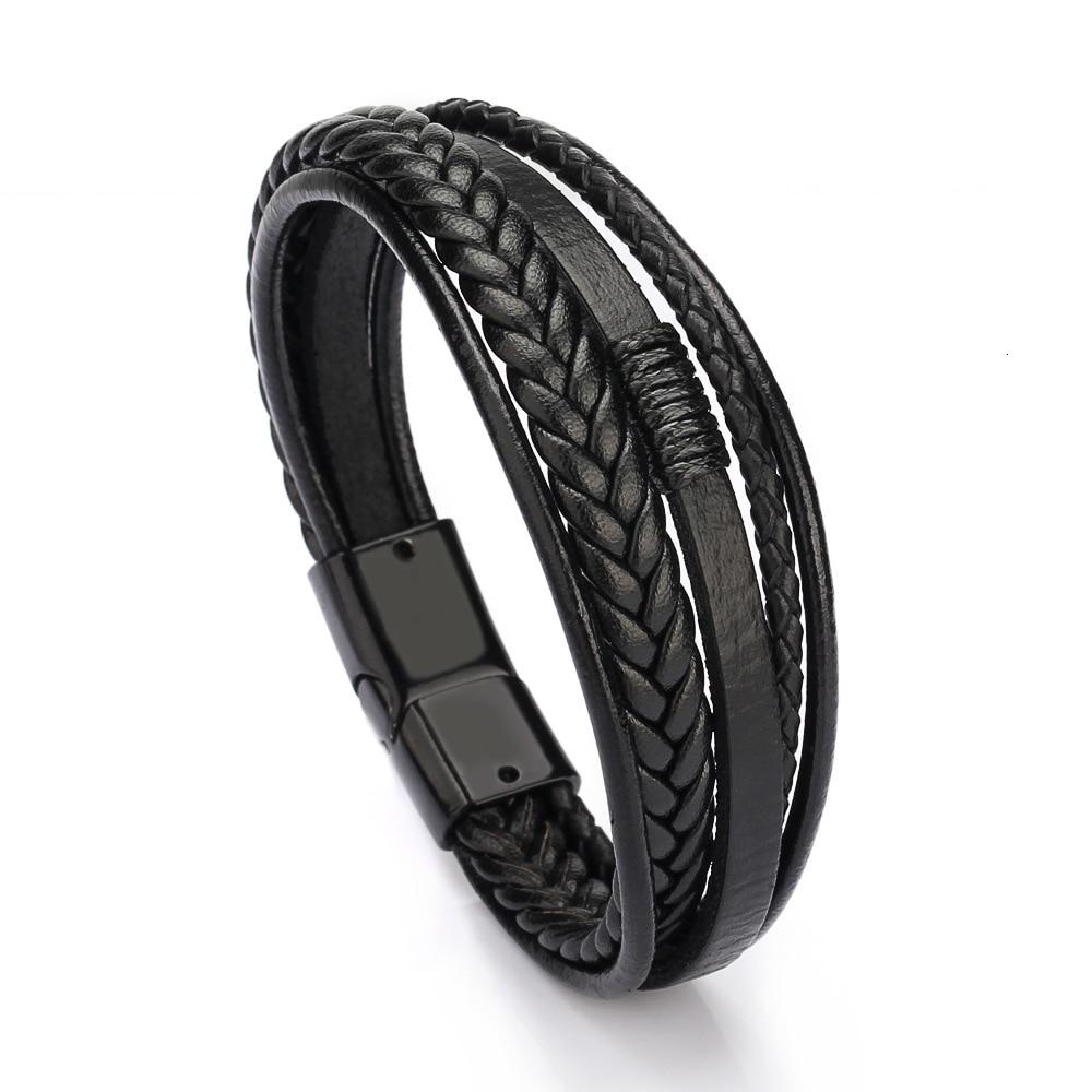 Мужской Многослойный кожаный браслет с магнитной застежкой, плетеный многослойный браслет на руку, pulsera hombre