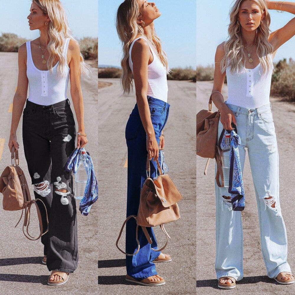 Женские расклешенные брюки, женские джинсы большого размера, джинсы-бойфренды, женские джинсы, брюки с завышенной талией, рваные джинсы для ...