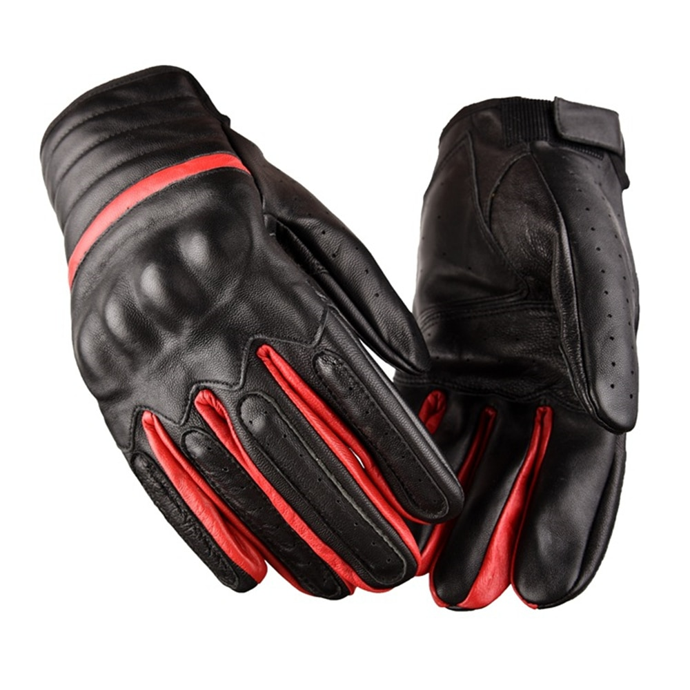 Real Genuine Sheepskin Leather Gloves Wind-Proof For Motor Bike Rider Black Red enlarge