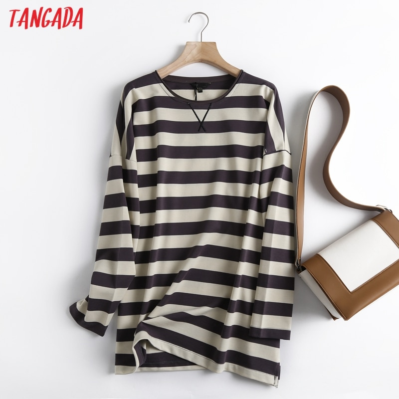 Tangada Women High Quality Striped Print Sweatshirts Oversize Long Sleeve O Neck Loose Pullovers Female Tops 6D42