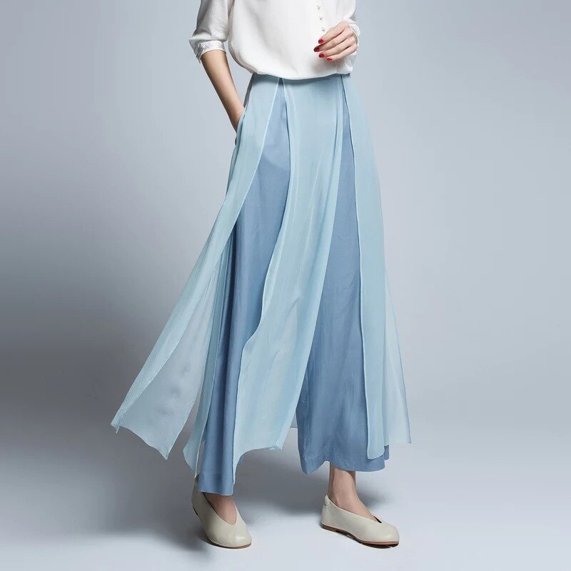 Trousers Women High Quality Chinese Retro Spring And Summer Silk Wide-leg Pants Casual Loose Stitching Hakama Solid Colour S-XL