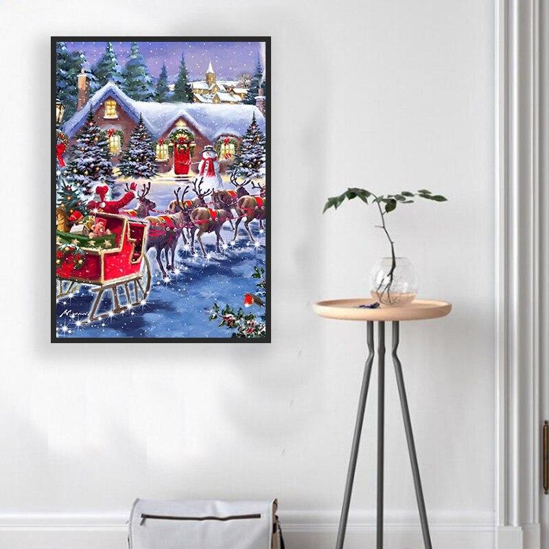 5D DIY Diamond Painting Winter Cottage Full Round 5D Diy Diamond Embroidery Painting Diamond Christmas Gift