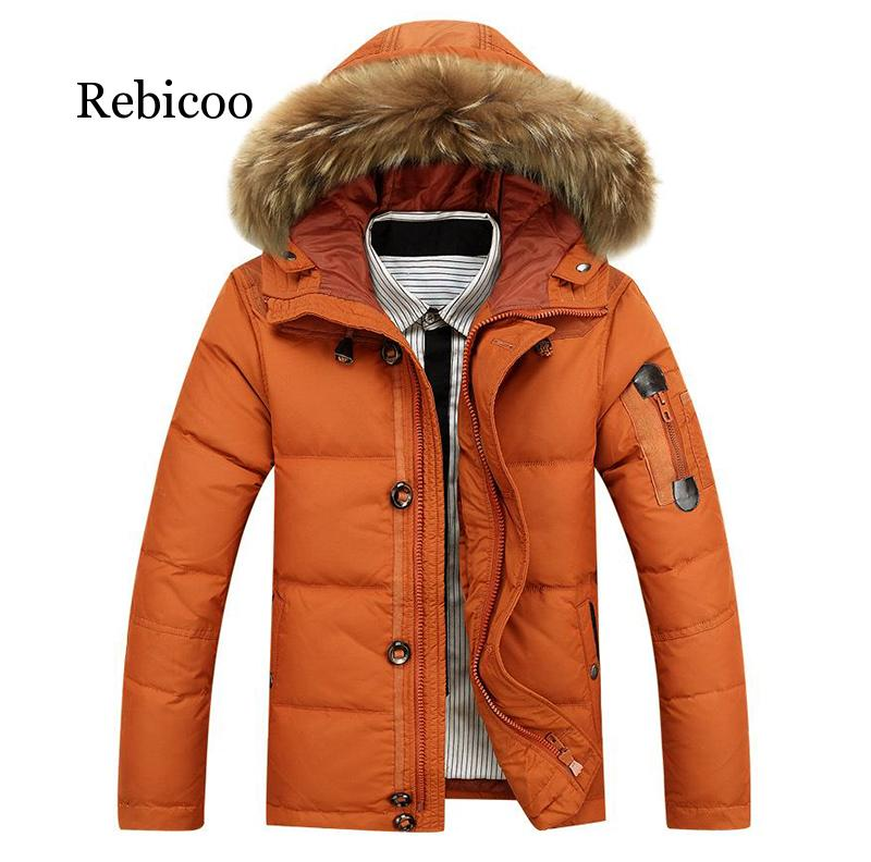 blackleopardwolf 2019 new arrival winter coat high quality causal parkas hat detachable down jacket men clothing bl 1000 90% White Duck Down winter Warm Coat Men's Hat Detachable Fur Collar Parkas Down Jacket Hooded Feather Clothing for Men Male