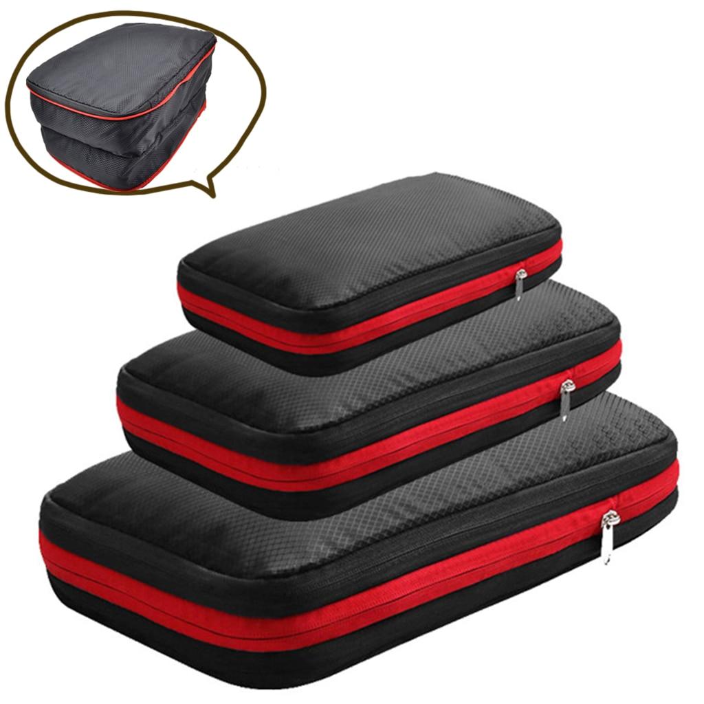 Bolsa de almacenamiento de viaje de doble capa, organizador de ropa, bolsa para maleta neceser de viaje, Cubo de embalaje de compresión