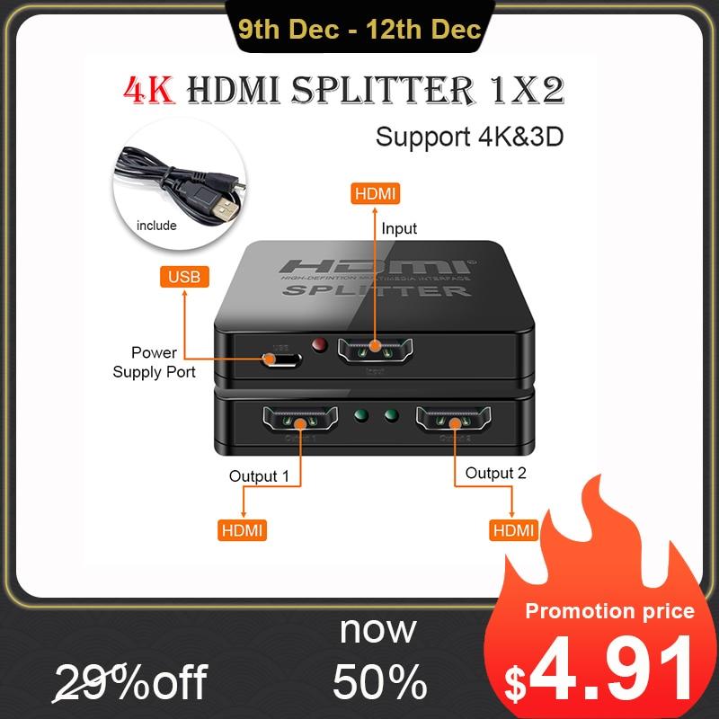 Hdmi Splitter 1 in 2 out 1080p 4K 1x2 1x4 HDCP Stripper 3D Splitter Power Signal Amplifier  HDMI Splitter For HDTV DVD PS3 Xbox