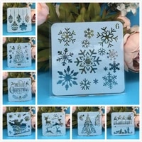 8pcsset 5inch merry christmas snowflake diy layering stencils painting scrapbook coloring embossing album decorative template