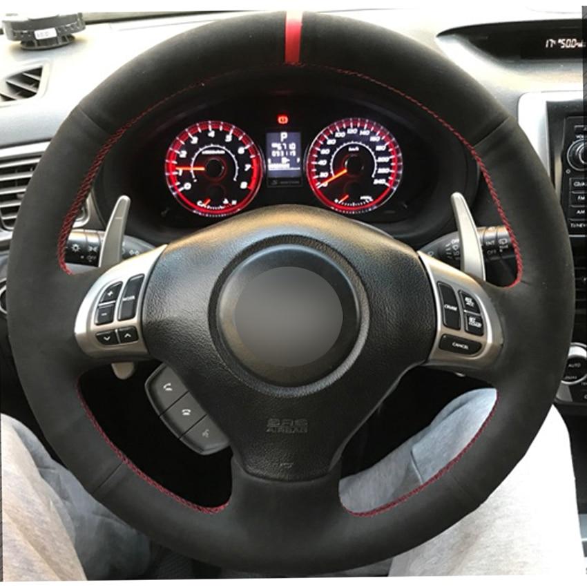 Black Sued Car Steering Wheel Covers for Subaru Forester 2008-2012 Impreza 2008-2011 Legacy 2008-2010 Exiga 2 Steering Covers