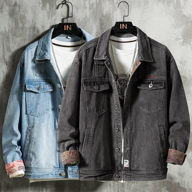 جاكيت جينز رجالي عتيق ، أزرق فاتح ، موضة غير رسمية ، ملابس الشارع ، رمادي غامق ، ملابس ذات علامة تجارية ، خريف 2020