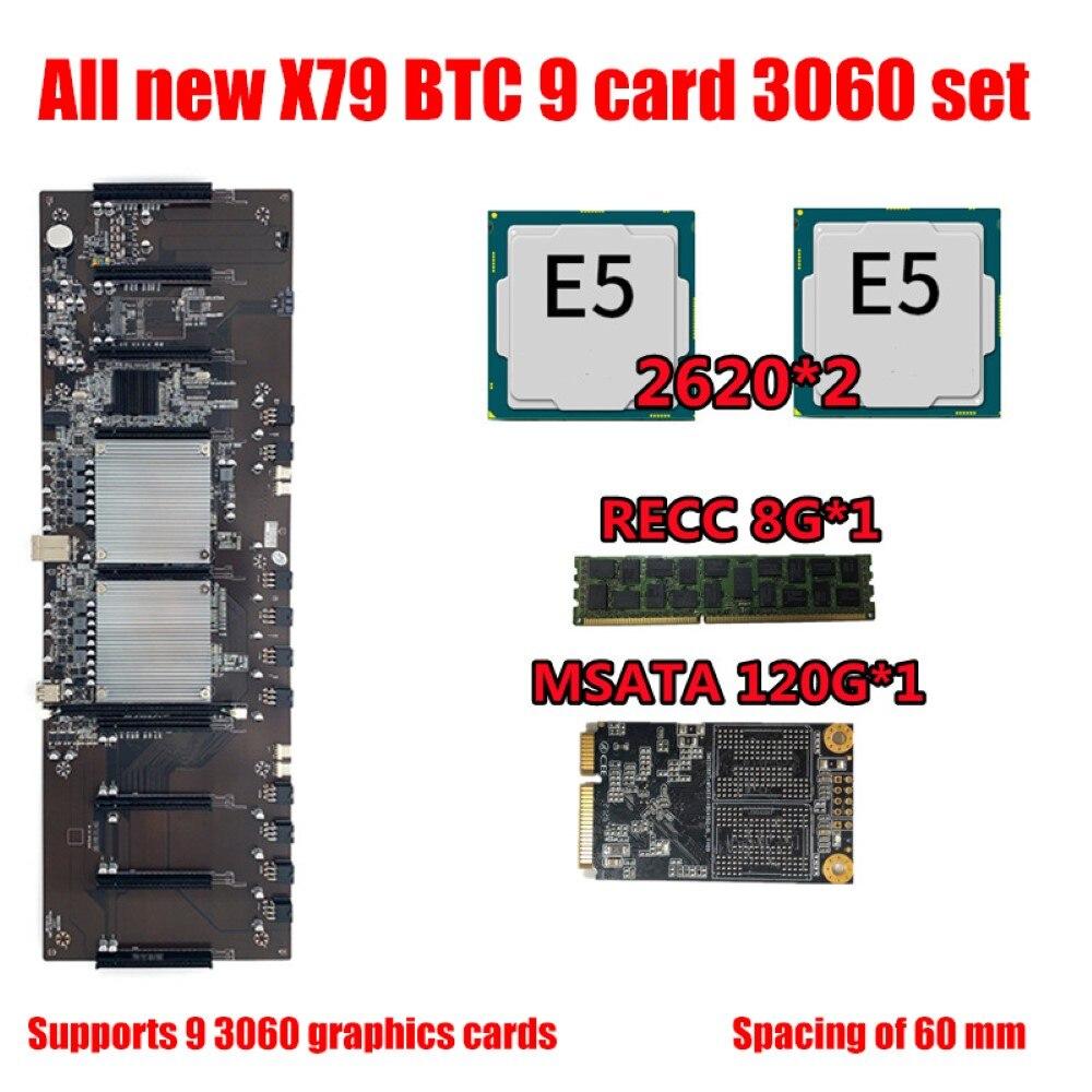 BTC X79 المزدوج وحدة المعالجة المركزية مينر اللوحة DDR3 8 PCI-E X16 مع وحدة المعالجة المركزية E5-2620 RECC 8G DDR3 الذاكرة 120G MSATA SSD لدعم 3060 وحدة معالجة الرسومات