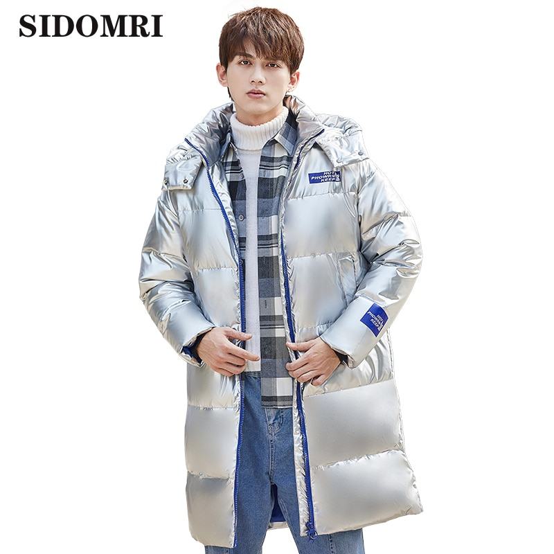 Winter down jacket for men 90% white duck down brand warm thickness gloosy fabric high quality down coat men style