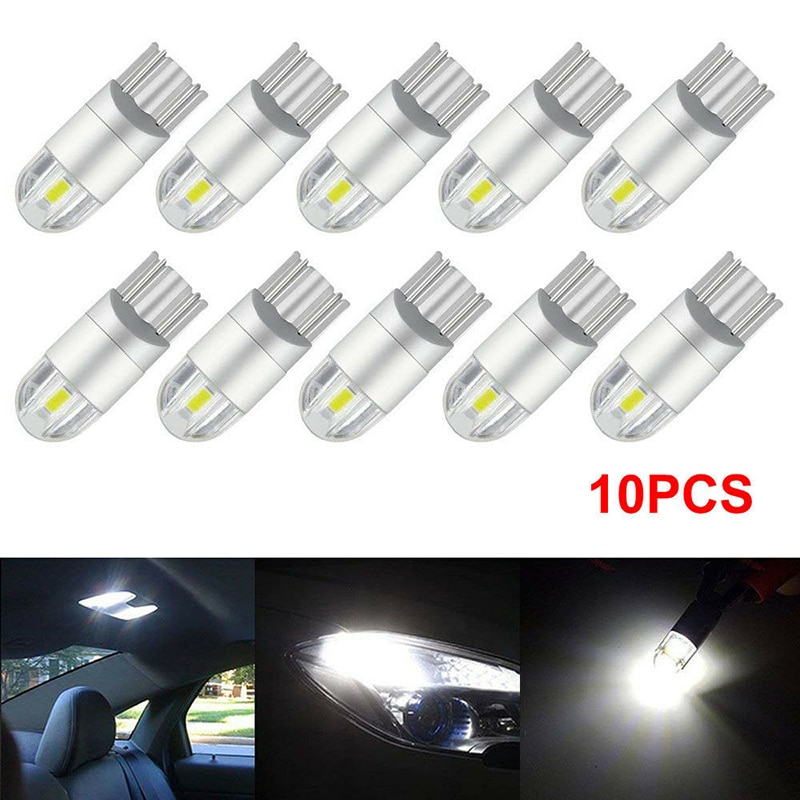 10 pçs super branco t10 3030 2smd led de alta potência interior lâmpada w5w 194 168 6w