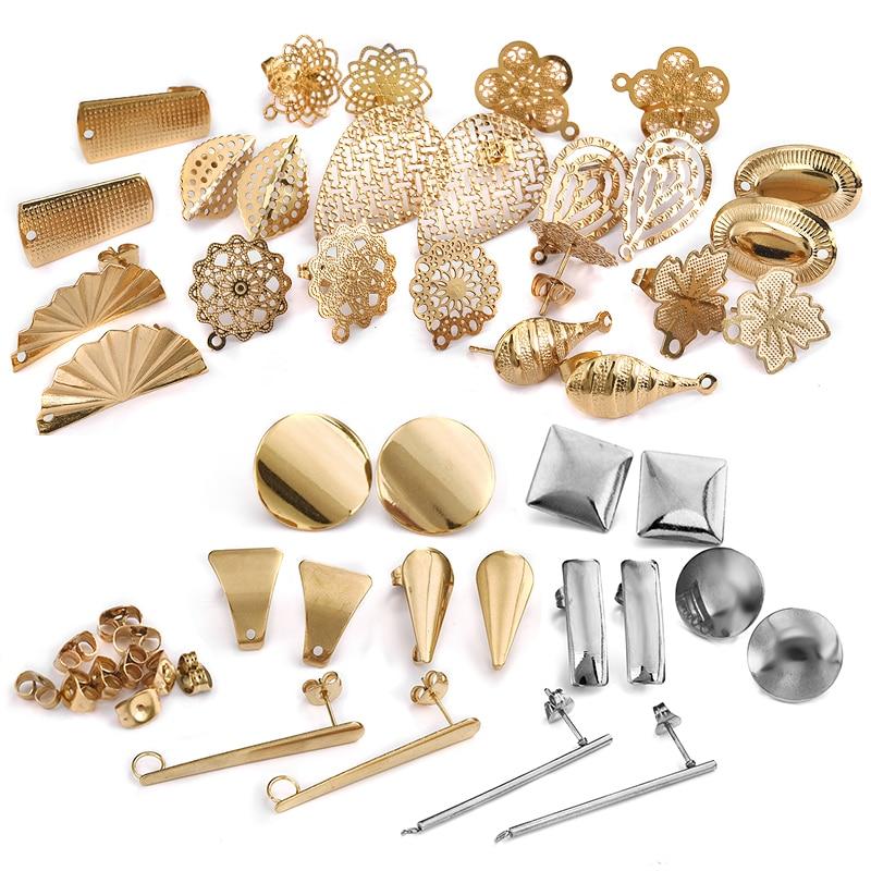 10 шт., круглые геометрические серьги-гвоздики из нержавеющей стали, серьги с золотыми полыми цветами, базовые соединители, аксессуары для самостоятельного изготовления