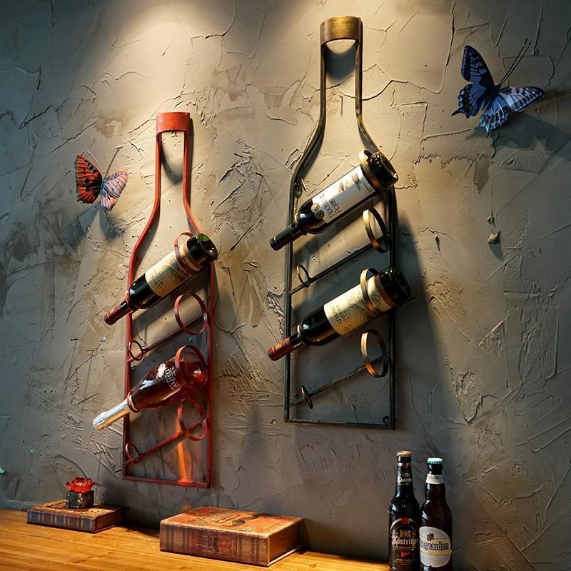 Vintage estante de vino colgante de pared para casa restaurante bar colgante de pared loft creativo bar decoración de pared botella de vino titular de la pared