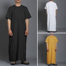 Men Fashion Long Robes Short Sleeve Round Neck Robe Man Vintage Solid Color Muslim Kaftan Long Shirts Casual Jubba Thobe INCERUN